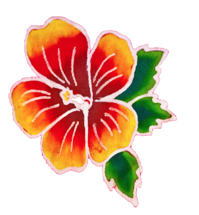 Orange Gradient Batik Hibiscus Flower