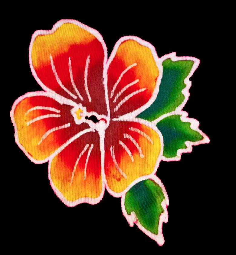Orange Gradient Batik Hibiscus Flower