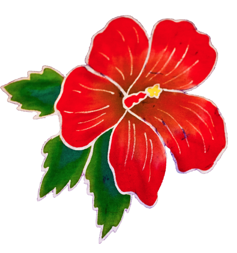 Red Batik Hibiscus Flower