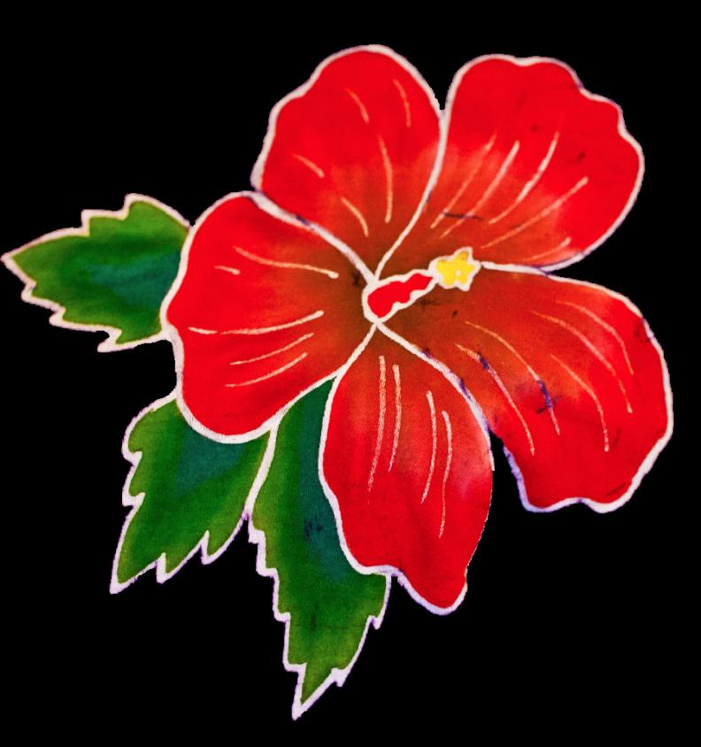 Red Batik Hibiscus Flower